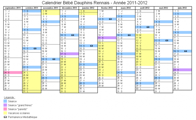 Calendrier Bébés Dauphins - année 2012-2013