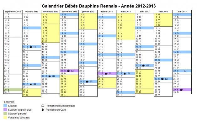 Calendrier Bébés Dauphins - année 2011-2012
