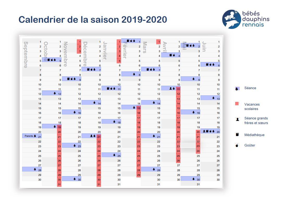 Calendrier Ludique A Imprimer 2020.Infos Pratiques Les Bebes Dauphins Rennais
